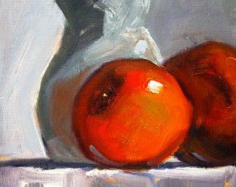 Still Life Oil Painting, Red Apples, Original 5x7 Canvas, Small Fruit Art, White Pitcher, Kitchen Wall Decor, Food, Minimalist Miniature