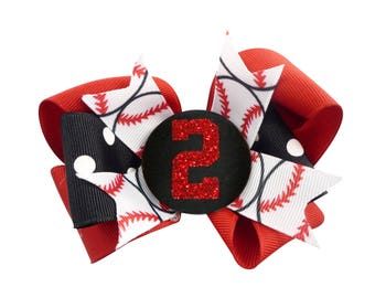Bling Baseball Hair Bow Hairbow Number Custom , Glitter Red Black, Personalized, Softball Choose your bow colors, number