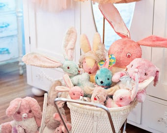 Vintage Bunnies Stuffed Animals Baby Pastel Photography - Girl Nursery Cottage Shabby Style Home Decor Wall Art Photography Print