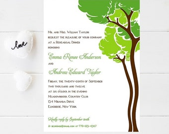 10 Tree Rehearsal Dinner Invitations - Nature Wedding Rehearsal Dinner Invitation - Outdoor Wedding Rehearsal Invitation - Rehearsal Dinner