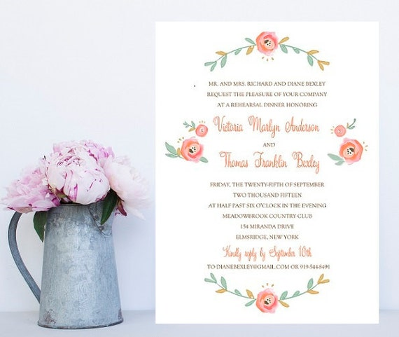 10 Flower Rehearsal Dinner Invitations - Floral Rehearsal Invitation - Floral Rehearsal Dinner Invitation - Rehearsal Dinner Invites - Pink