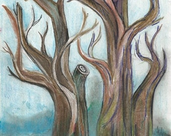 Painting Lot * Two Paintings Rainy Sky Landscape Bare Trees in Watercolor Ink Original with Moss