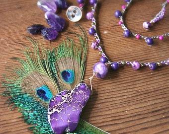 Long Boho Necklace, Purple Necklace, Gem Slab Necklace, Crocheted Necklace, Layering Necklace, OOAK Necklace, Festival Necklace, Gypsy Style