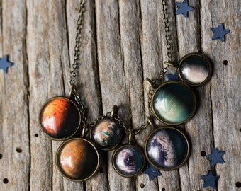 Trappist-1 System Necklace - New Planets, Outer Space Exploration, NASA - Layered Pendants, Galaxy Jewelry, Handmade by Yugen Tribe
