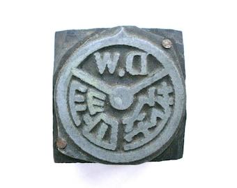 Vintage Metal Stamp - Wood Stamp - Chinese Character - Japanese stamp - Driving School in Japan