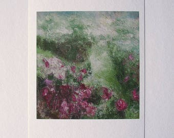 Fine art print from painting detail, rose garden, silvery green, rose, soft, romantic, Impressionist, A6 to A3 size