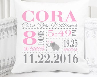 Girls Birth Announcement Pillow - Elephant - Nursery Pillow - New Baby Gift - Personalized