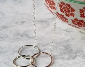 Ombre Linked Circles Necklace - Silver, Rose Gold , Gold | linked necklace | infinity necklace | eternity necklace | anniversary gift
