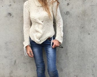ivory Cable sweater, women's alpaca sweater with cable detail