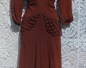 Rust 1940s dress crepe rayon swing pin up rockabilly WW11 dance true vintage   small  from vintage opulence on Etsy