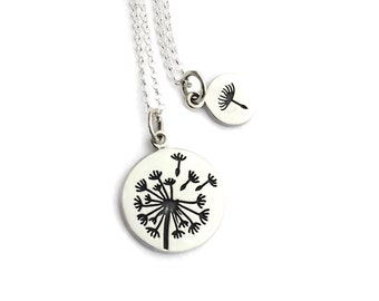 Dandelion and Dandelion Seed Wish Necklace Set   From Mother to Daughter Mother Daughter Gift   Mommy & Me   Dandelion Necklace  Make a Wish