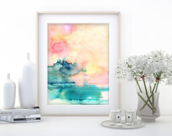 """Abstract Watercolor Painting, soft, Serene, Peaceful, Tranquil, Original art """"Ethereal Travels 4"""" Kathy Morton Stanion EBSQ"""
