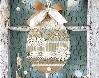 Easter Egg, Hanging Easter Decor, Fabric Egg, Easter Wreath, Blue and Tan, Spring Decoration, Farmhouse Style, Rustic, Shabby Chic Decor