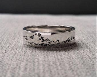 "Rustic Mens Wedding Band Ring Polished Nordic Mountain Nature Hiking Outdoorsmen Ski Cabin 14K White Gold ""The Alpine"""