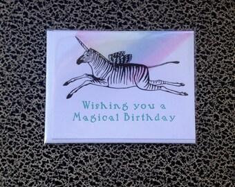 magical birthday letterpress card pegasus unicorn zebra rainbow