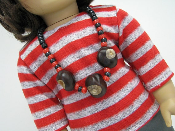 18 Inch Doll Buckeye Necklace - Ohio - Black Beads - Real Buckeye Necklace