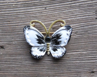 Butterfly Brooch Enamel Pin Original by Robert Vintage 60s Black + White Jewelry