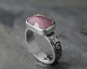 Rose Cut Natural Pink Sapphire, Sterling Silver Faceted Gemstone Jewel Statement Ring, Etched Floral Band, One of a Kind Rectangle Sapphire
