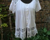 Reserved for Mary Jo Off the shoulder lace crochet boho shirt large rayon