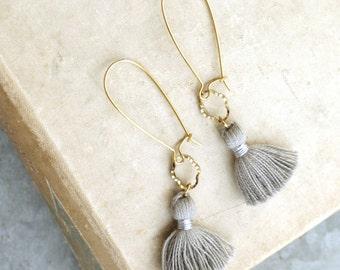 Tassel Earrings, Gray Tassels, Long Earrings