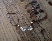 HERKIMER DIAMOND Earrings, Gold and Oxidized Silver, Black Hoop Double Terminated Quartz Gemstone Earrings, Boho Edgy Gemstone, ViaLove
