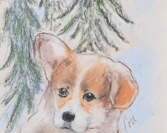 Pemborke Welsh Corgi Puppy Dog Art By Cori Solomon
