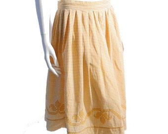 Vintage 50s Mustard Gingham Skirt // Hand Cross Stitch Skirt // High Waisted  Skirt // 28 Waist // 207
