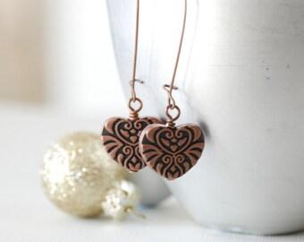 Copper Earrings, Heart Earrings, Long Dangle Earrings, Rustic Earrings, Cottage Chic, Statement Earrings, Boho Earrings, Copper Jewelry