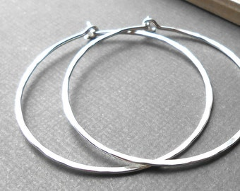 "Large Silver Hoop Earrings, Hammered Sterling Silver Hoops, 2"" Wire Hoop"