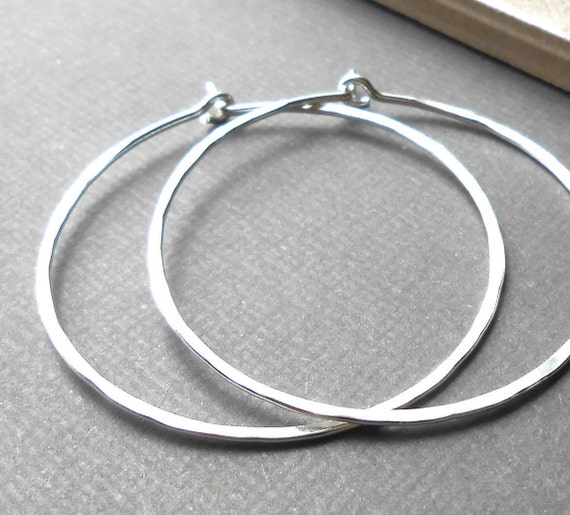 Large Sterling Silver Hammered Endless Hoops