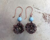 Robin Nest Copper Earrings