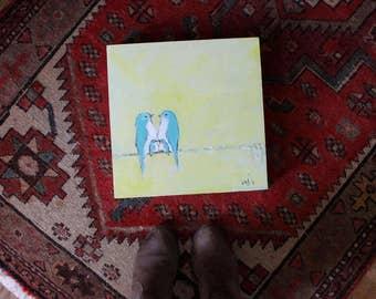 Our Lemon Cream Sky (Original acrylic painting 12x12)