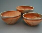 Nesting Bowl Set, wood-fired stoneware with natural ash glaze and hidasuki decoration