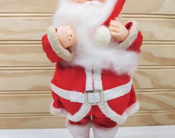 "Vintage Santa Claus Doll Christmas Ornament 9.5"" Figurine Decoration Retro Plastic Made In Japan"