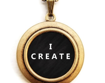I CREATE Locket - Artisan Creative Word Wear Locket Necklace
