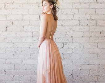 SAMPLE SALE Silk Gauze Blush Ombre Deep V Wedding Gown - The Clementine by Cleo and Clementine