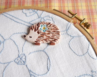 Ceramic Needleminder, Brown Hedgehog and Blue Flower