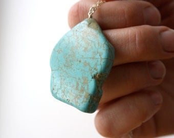 Stone Slab Necklace . Anxiety Jewelry . Turquoise Howlite Necklace Wire Wrapped Chain . Large Stone Pendant Necklace - Dolphin Collection