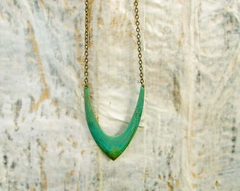 Long boho necklace /  gift under 30 /  Chevron necklace / turquoise geometric hipster jewelry
