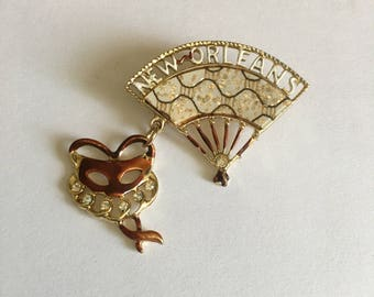 New Orleans Brooch Lapel Pin Souvenir Marci Gras Mask and Fan with Rhinestones and Glitter