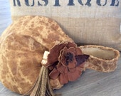 RESERVED for Jamie Spotted Honey Brown Leather Wristlet with Flower and Tassel by Stacy Leigh