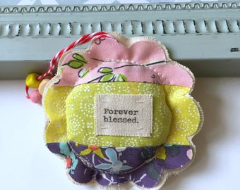 Forever Blessed lavender sachet ornament, fabric scrap modern patchwork ,flower shape sewn fabric sachet ornament, lavender gift - No.66