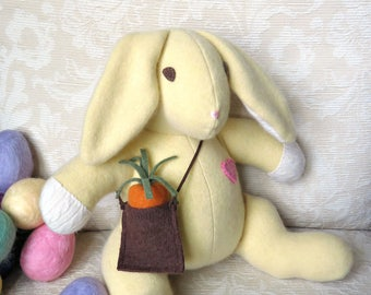 Beatrix Bunny, Plush Bunny, Repurposed Cashmere Bunny, Stuffed Bunny with Carrot