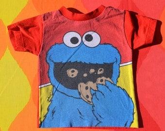 vintage 80s kid's t-shirt COOKIE MONSTER sesame street muppets children's tee 4