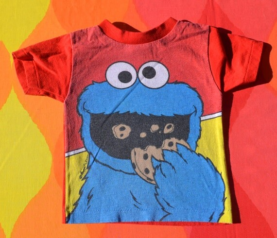vintage 80s kid's t-shirt COOKIE MONSTER sesame street muppets children's tee 4