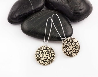 Full Moon Mandala Earrings. Patterned. Mixed Metal Jewelry. Sacred Geometry. Sterling Silver. Brass. Gifts for Her.