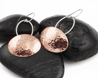 Hammered Copper Oval Pendulum Earrings. Glimmer. Drop Earrings. Dangle Earrings. Sterling Silver. Modern. Mixed Metal. Gifts for Her.