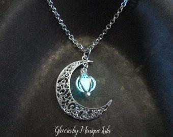 Crescent Moon Glowing Orb Necklace, Glow in the Dark, Glowing Necklace, Glow Locket, Boho, Bohemian, Celestial, Silver, Glowies Glow Jewelry