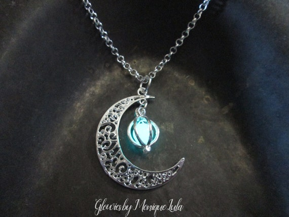 Crescent Moon Glowing Orb Necklace, Glow in the Dark, Glowing Necklace, Glow Locket, Boho, Bohemian, Celestial, Silver, Glowies Glow Jewelry