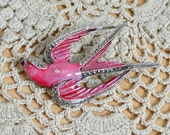 1950s Pink Enamel Marcasite Set Silver Tone SWALLOW Bird Brooch Pin - Gift Boxed